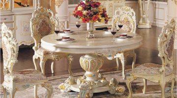 Altın Yaldızlı Oval Yemek Odası